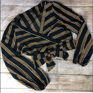 Tops - Long Sleeved Wrap Crop Top Black/Yellow Striped